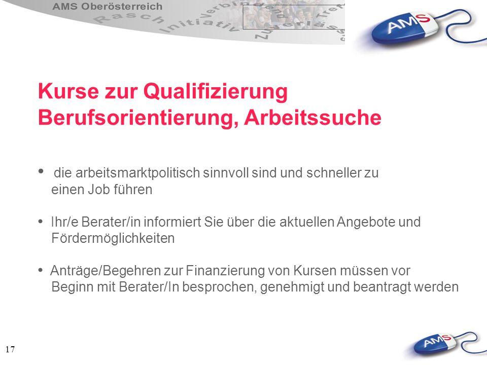 Kurse zur Qualifizierung Berufsorientierung, Arbeitssuche