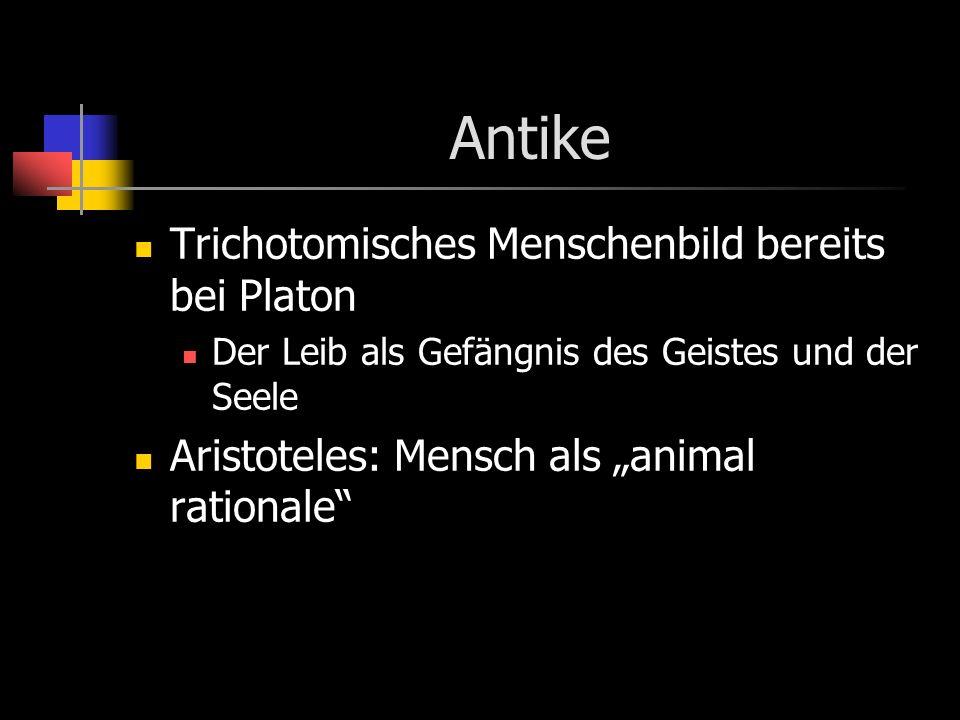 Antike Trichotomisches Menschenbild bereits bei Platon