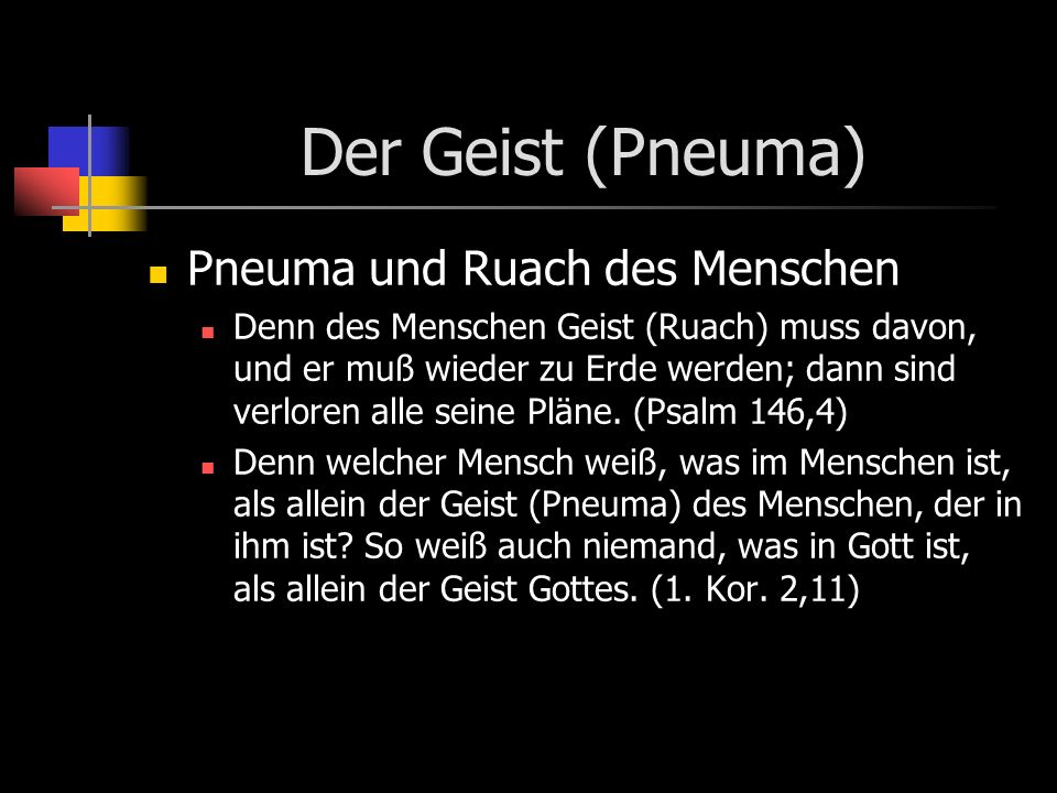 Der Geist (Pneuma) Pneuma und Ruach des Menschen