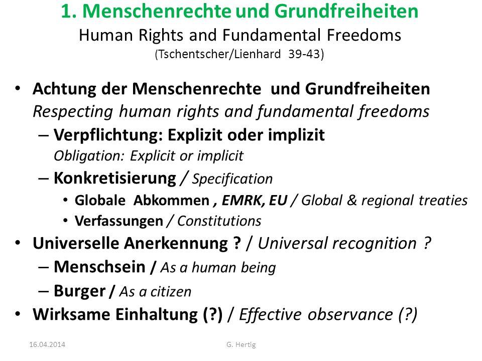 1. Menschenrechte und Grundfreiheiten Human Rights and Fundamental Freedoms (Tschentscher/Lienhard 39-43)
