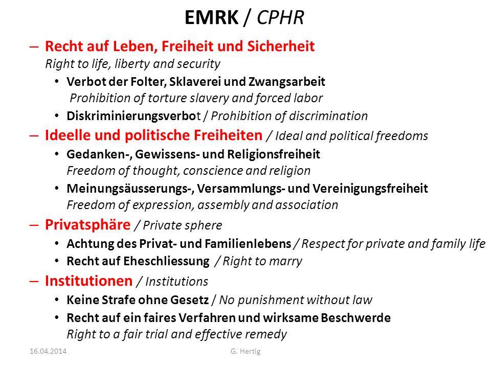 EMRK / CPHR Recht auf Leben, Freiheit und Sicherheit Right to life, liberty and security.