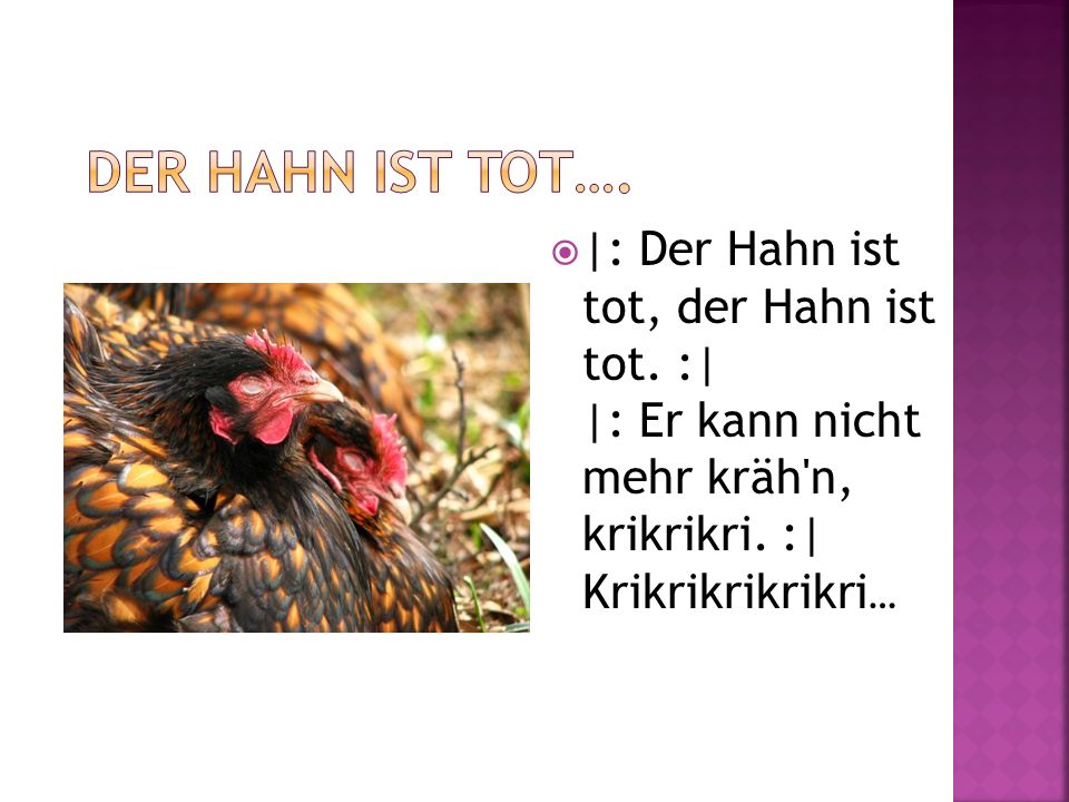 Der Hahn ist tot…. |: Der Hahn ist tot, der Hahn ist tot.