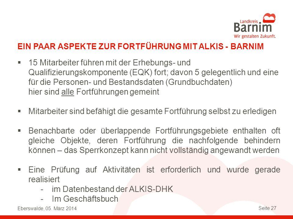 Ein paar Aspekte zur Fortführung mit alkis - Barnim