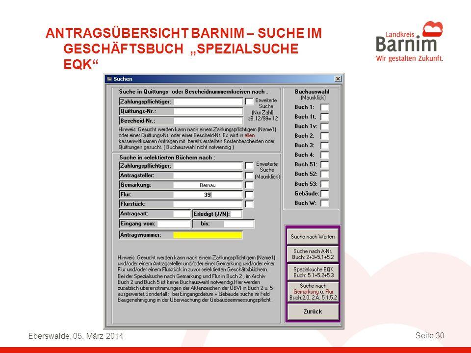 """Antragsübersicht Barnim – Suche im Geschäftsbuch """"spezialsuche EQK"""