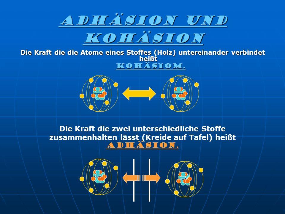 Adhäsion und kohäsion Die Kraft die die Atome eines Stoffes (Holz) untereinander verbindet heißt. KOHÄSIOM.