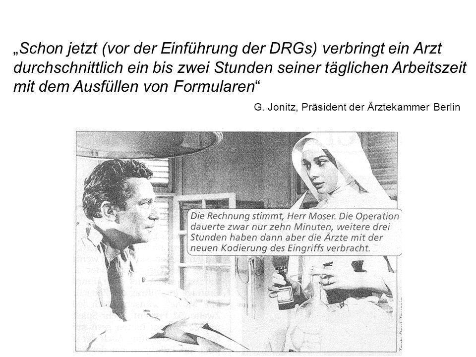 """""""Schon jetzt (vor der Einführung der DRGs) verbringt ein Arzt"""
