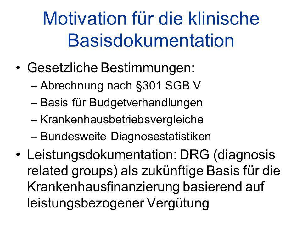 Motivation für die klinische Basisdokumentation