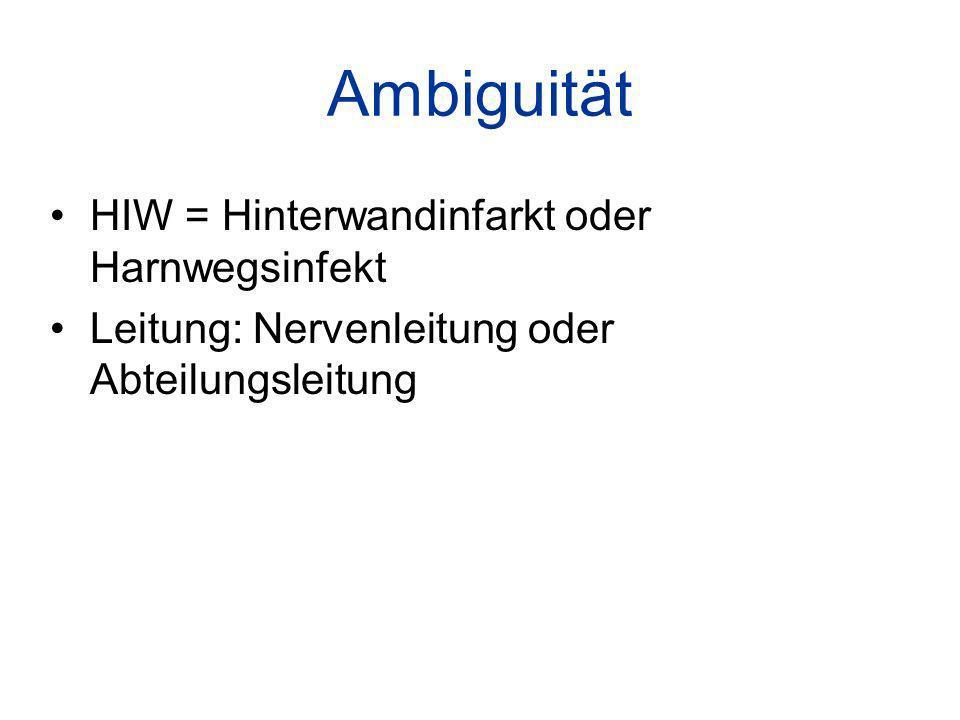 Ambiguität HIW = Hinterwandinfarkt oder Harnwegsinfekt