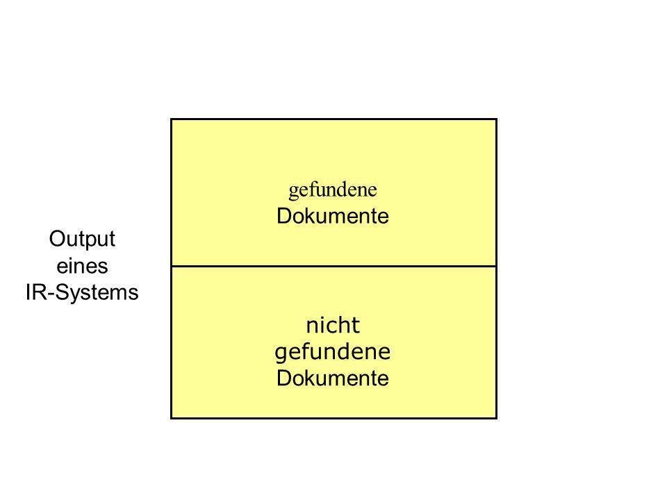 gefundene Dokumente Output eines IR-Systems nicht gefundene Dokumente