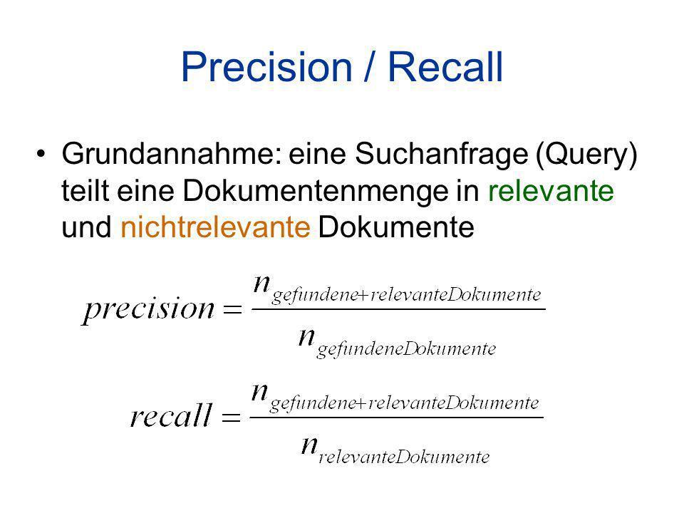 Precision / Recall Grundannahme: eine Suchanfrage (Query) teilt eine Dokumentenmenge in relevante und nichtrelevante Dokumente.
