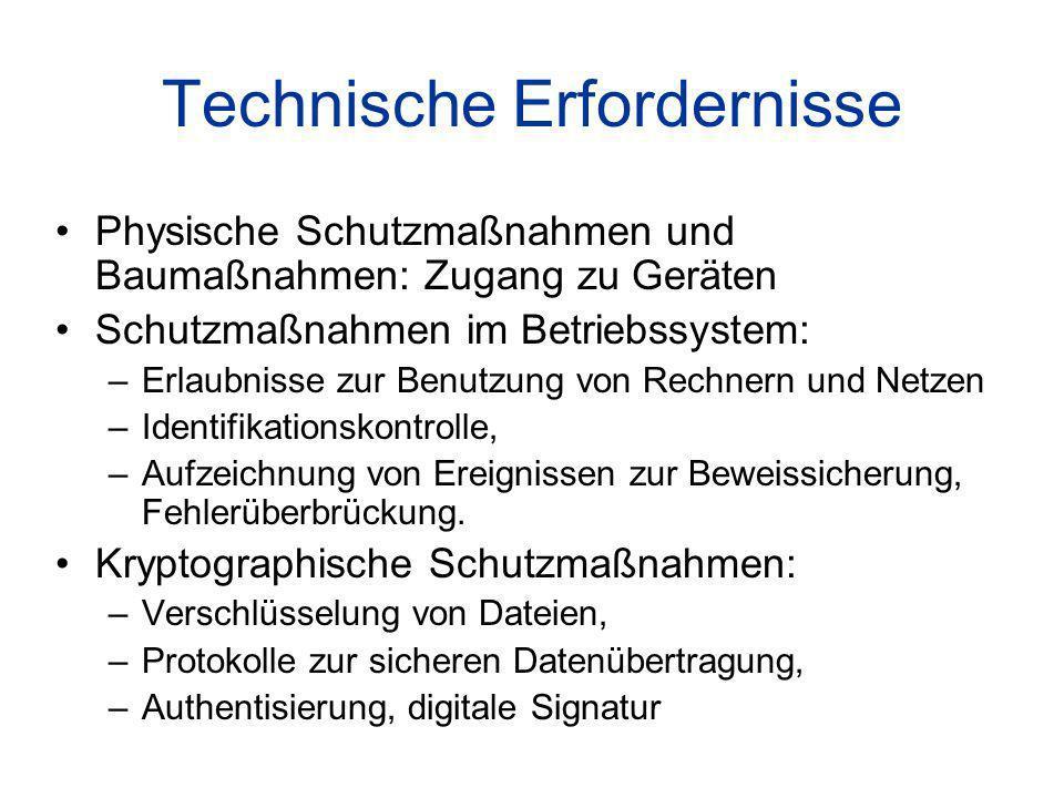 Technische Erfordernisse