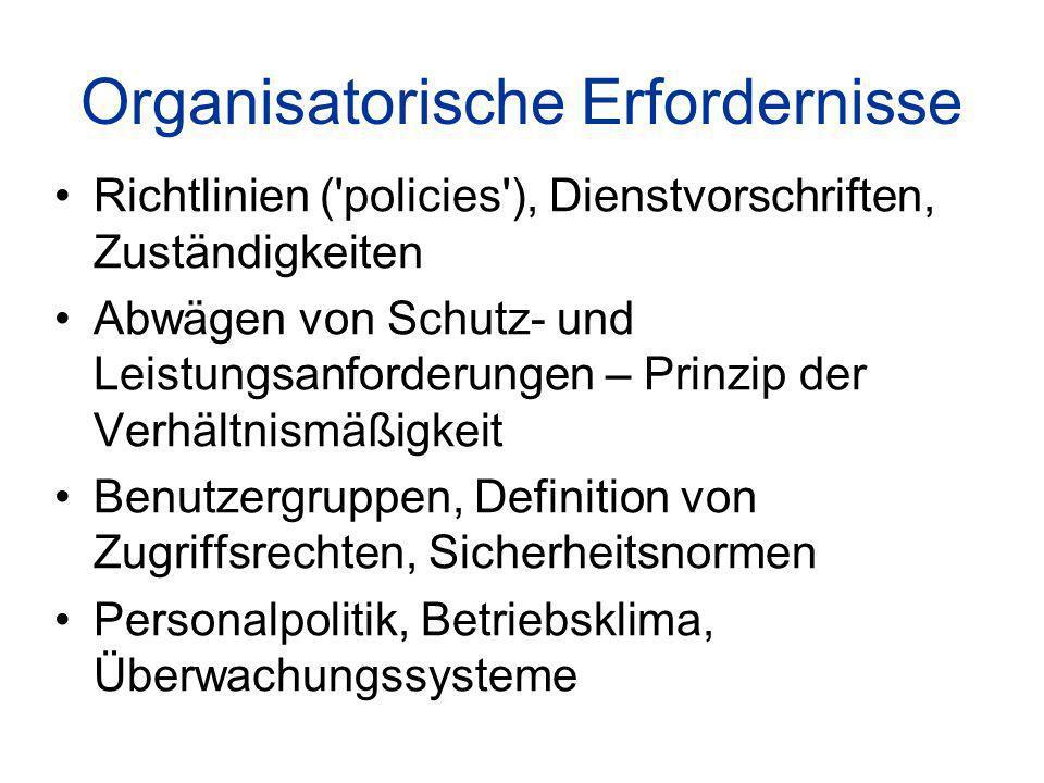 Organisatorische Erfordernisse