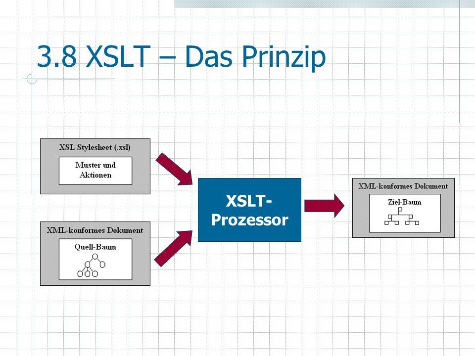 3.8 XSLT – Das Prinzip XSLT- Prozessor