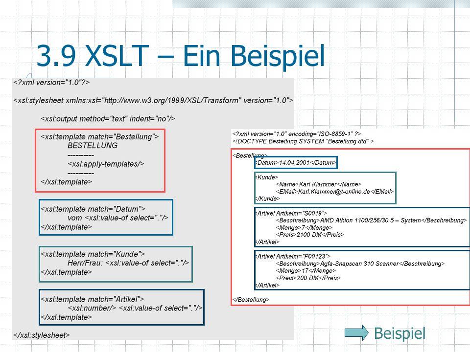 3.9 XSLT – Ein Beispiel ... Beispiel