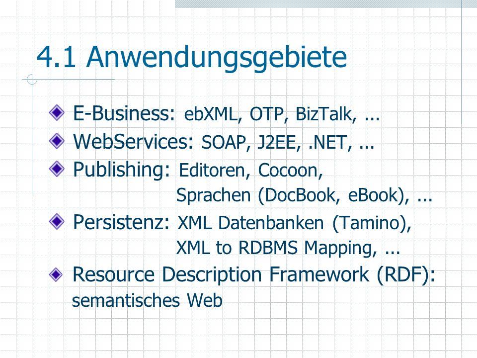 4.1 Anwendungsgebiete E-Business: ebXML, OTP, BizTalk, ...