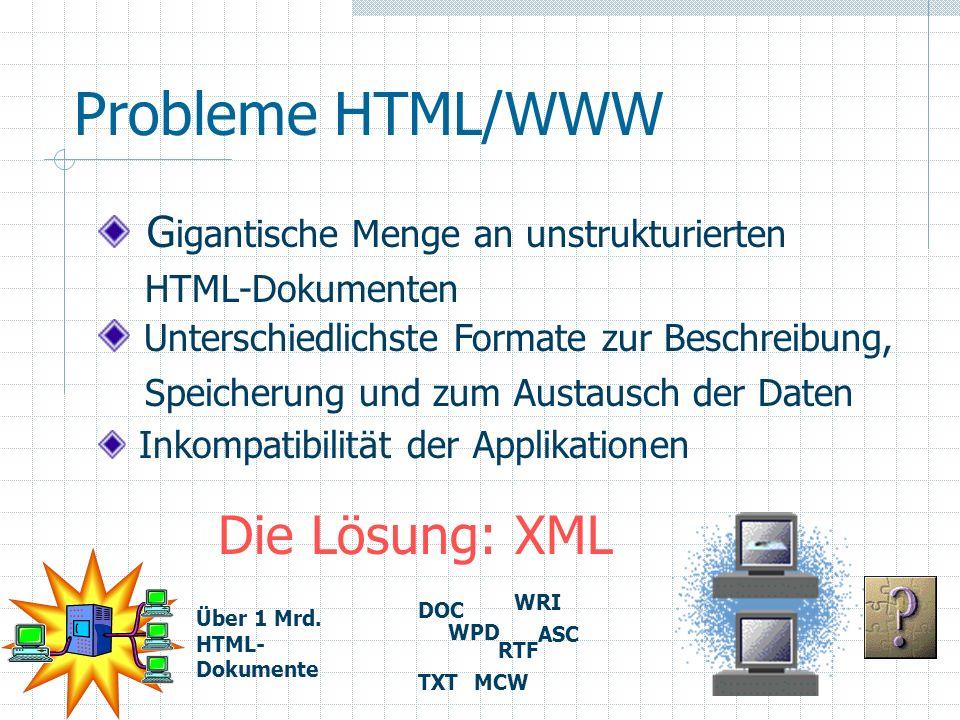 Probleme HTML/WWW Die Lösung: XML