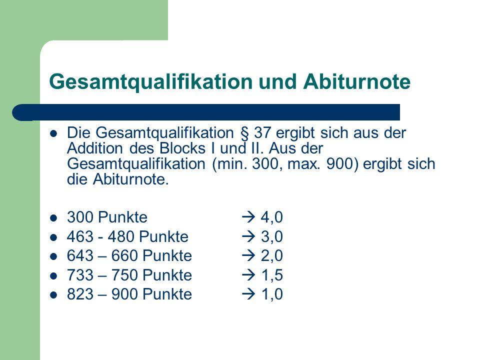 Gesamtqualifikation und Abiturnote