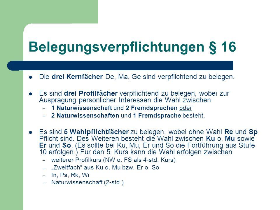 Belegungsverpflichtungen § 16