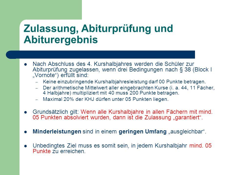 Zulassung, Abiturprüfung und Abiturergebnis