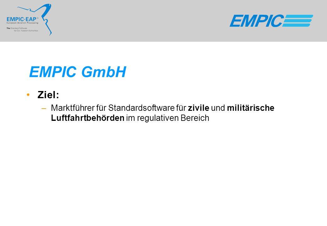 EMPIC GmbH Ziel: Marktführer für Standardsoftware für zivile und militärische Luftfahrtbehörden im regulativen Bereich.