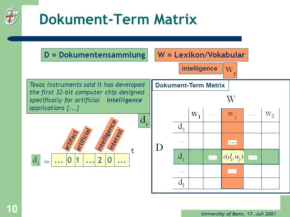 Dokument-Term Matrix = D = Dokumentensammlung W = Lexikon/Vokabular