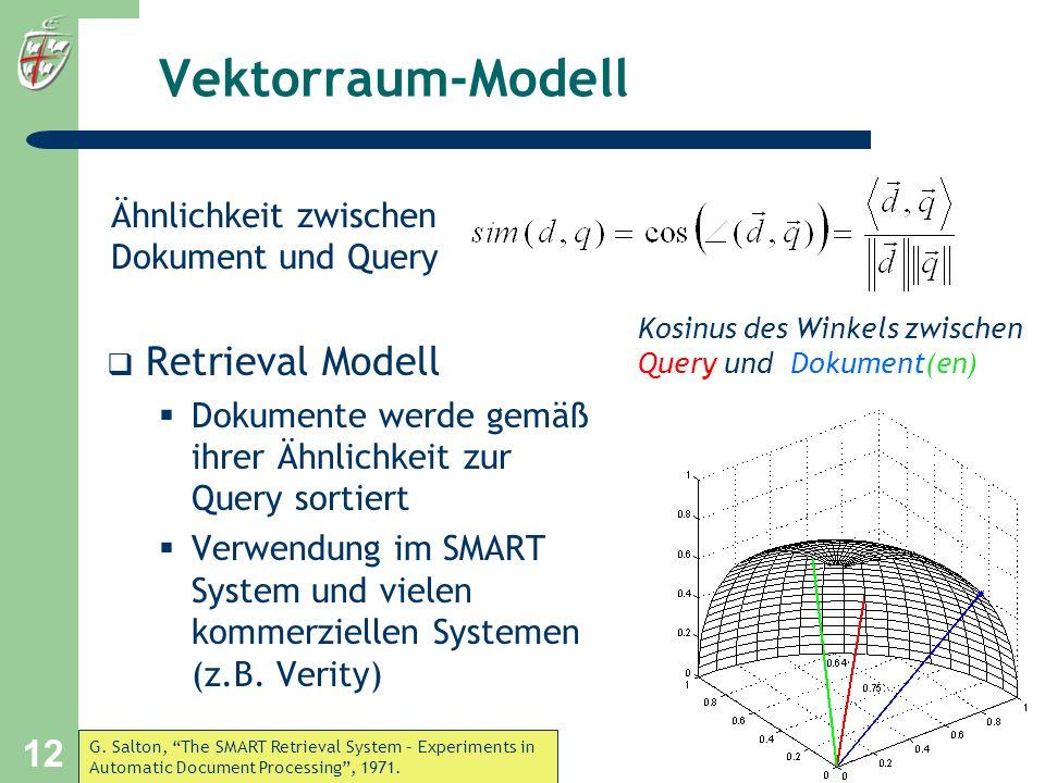 Vektorraum-Modell Retrieval Modell Ähnlichkeit zwischen