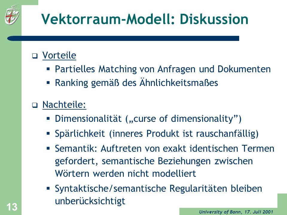 Vektorraum-Modell: Diskussion