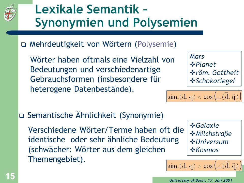 Lexikale Semantik – Synonymien und Polysemien