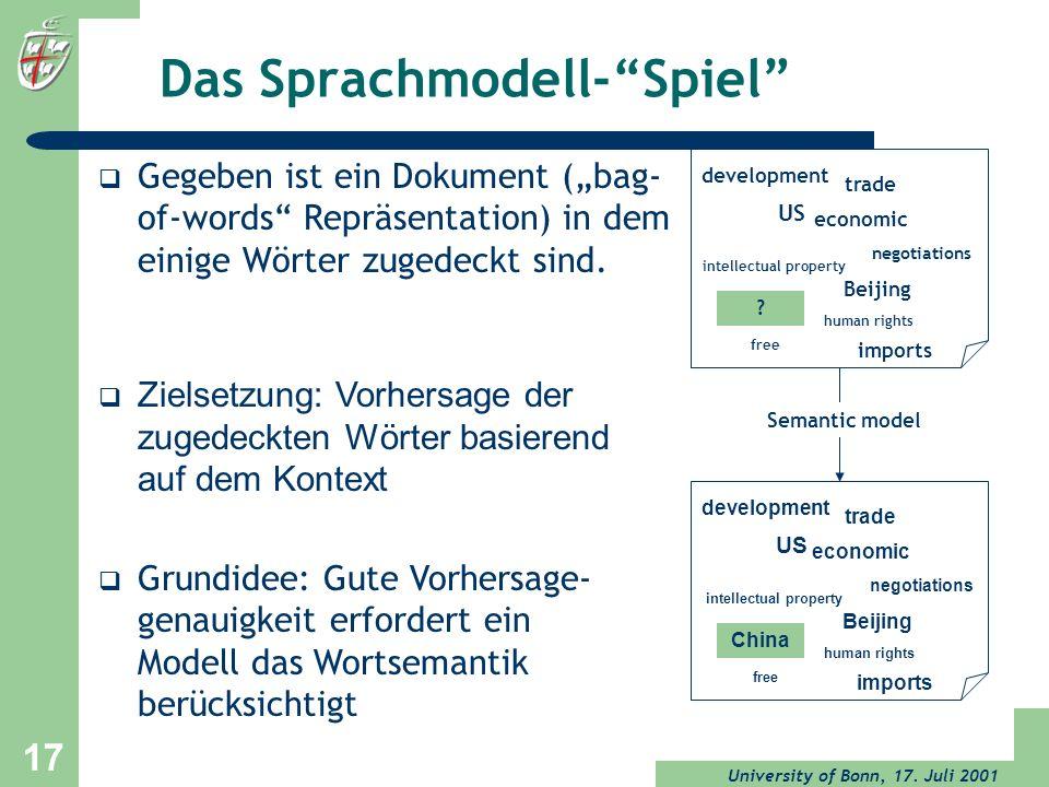 Das Sprachmodell- Spiel