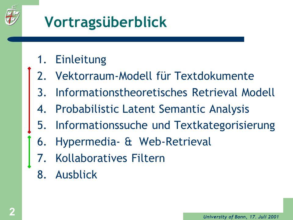 Vortragsüberblick Einleitung Vektorraum-Modell für Textdokumente
