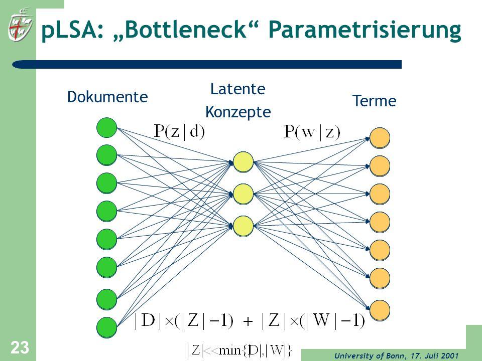 """pLSA: """"Bottleneck Parametrisierung"""