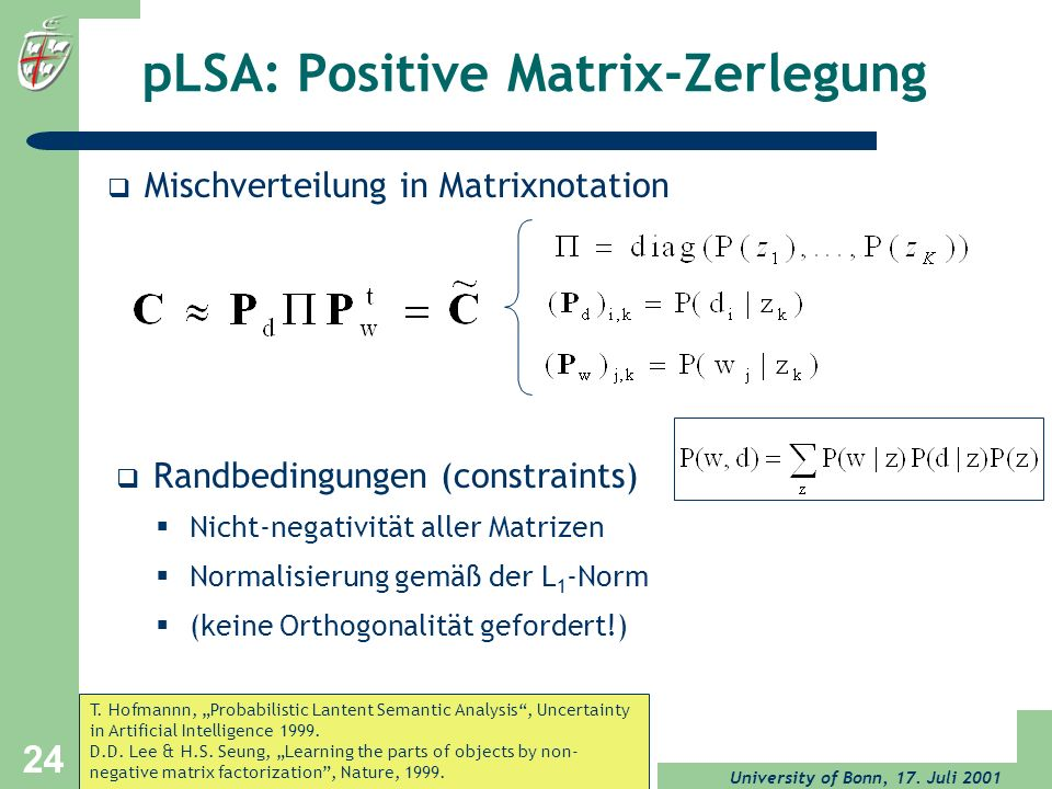 pLSA: Positive Matrix-Zerlegung