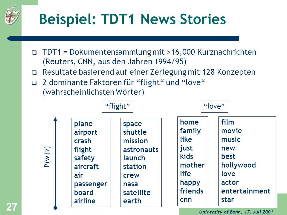 Beispiel: TDT1 News Stories