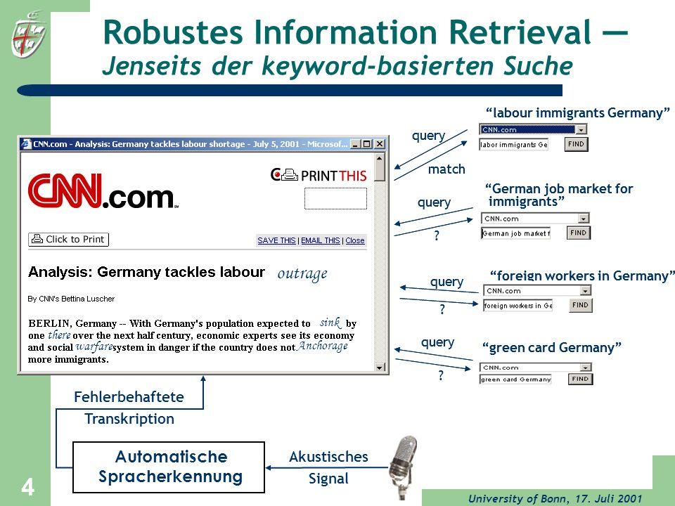 Robustes Information Retrieval — Jenseits der keyword-basierten Suche