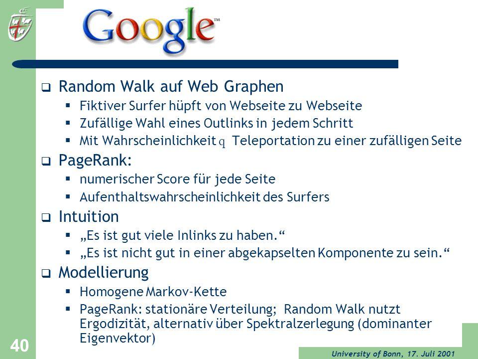Random Walk auf Web Graphen