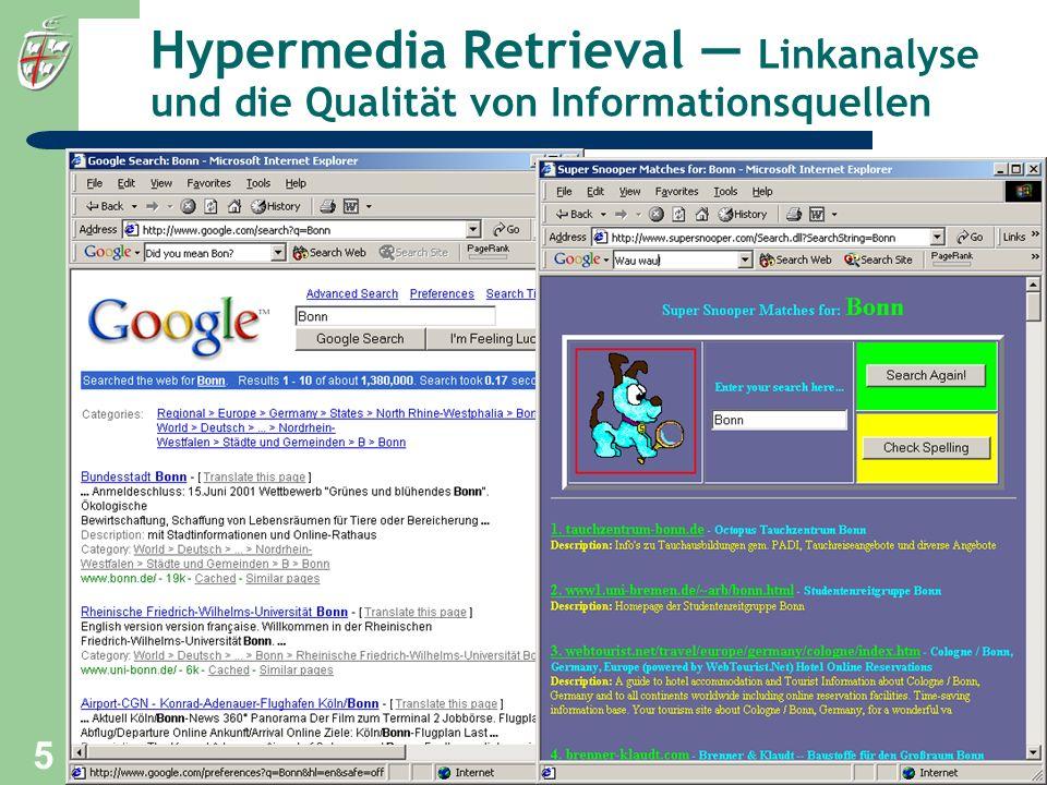 Hypermedia Retrieval — Linkanalyse und die Qualität von Informationsquellen