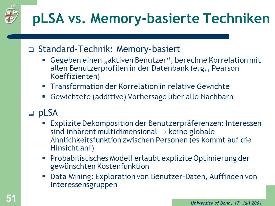 pLSA vs. Memory-basierte Techniken