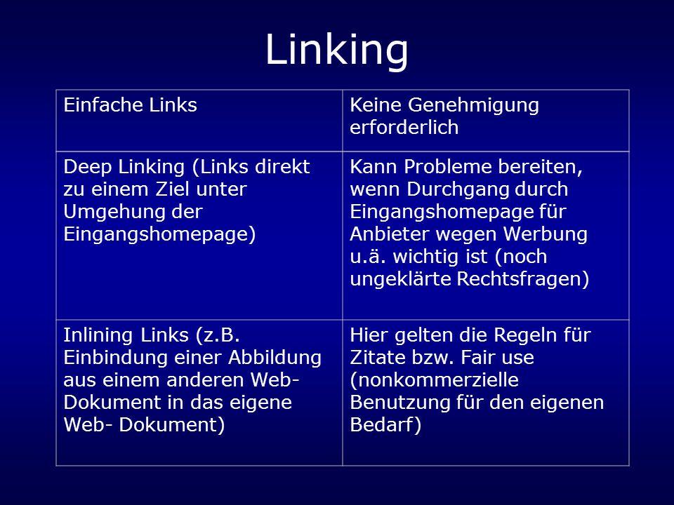 Linking Einfache Links Keine Genehmigung erforderlich