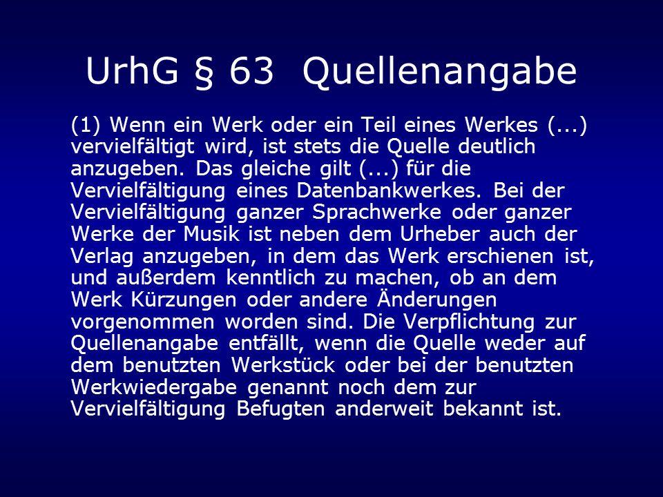UrhG § 63 Quellenangabe