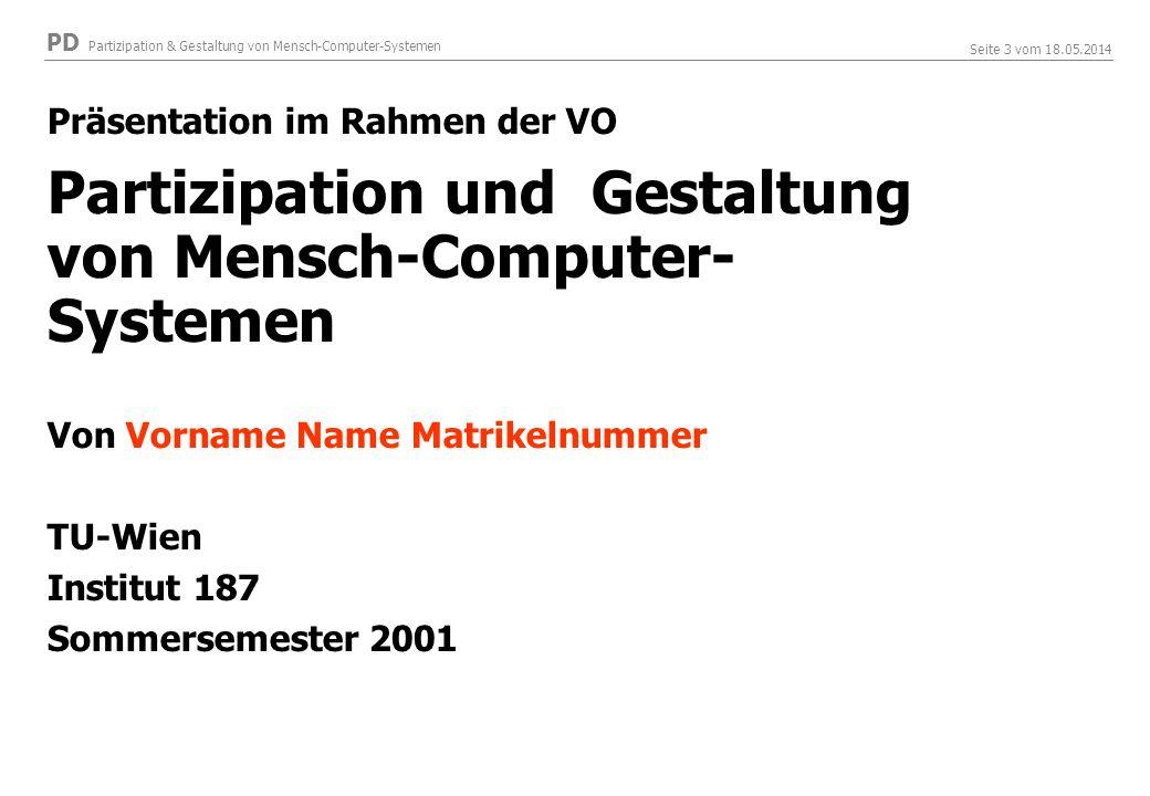 Partizipation und Gestaltung von Mensch-Computer-Systemen