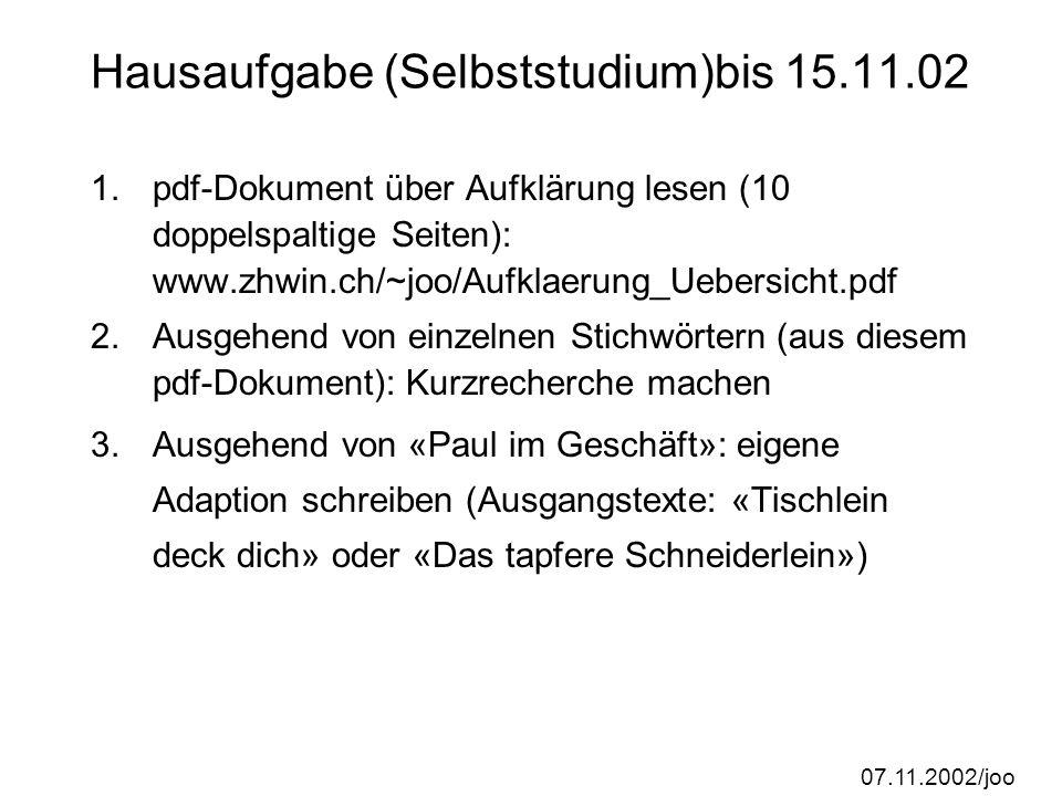 Hausaufgabe (Selbststudium)bis 15.11.02