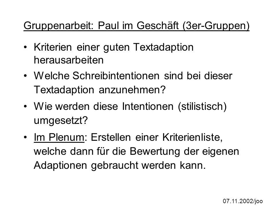 Gruppenarbeit: Paul im Geschäft (3er-Gruppen)