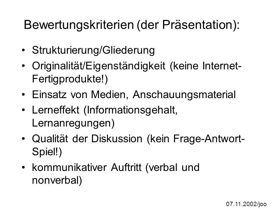Bewertungskriterien (der Präsentation):