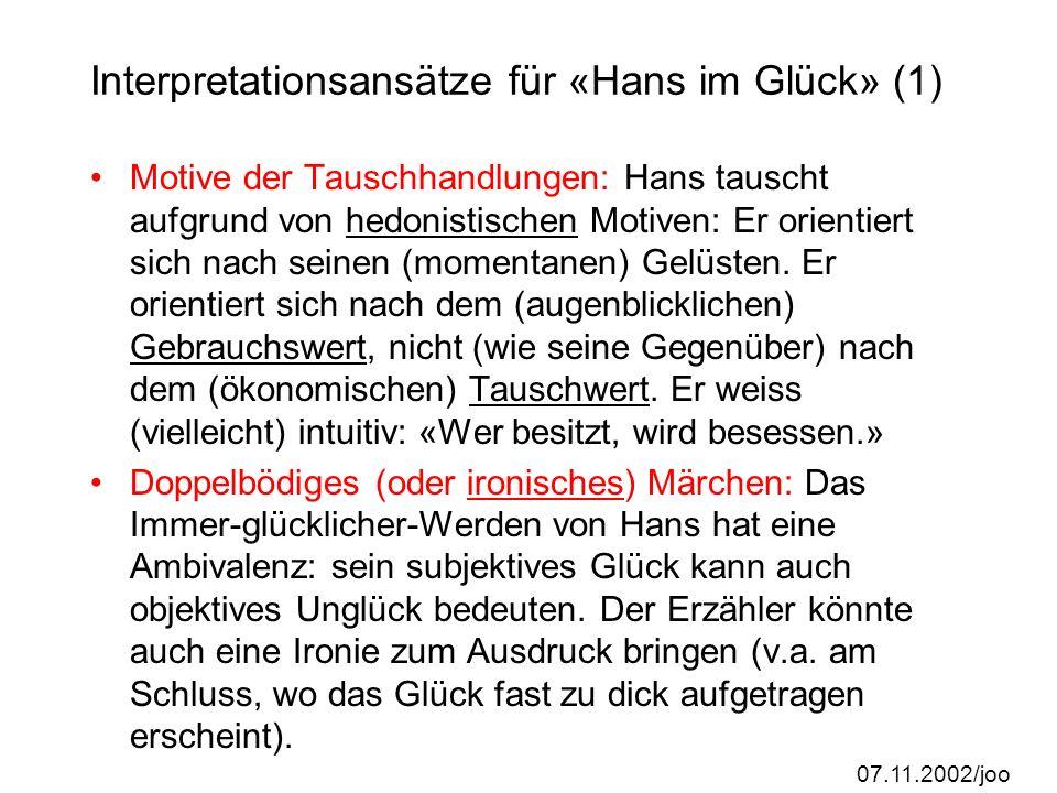 Interpretationsansätze für «Hans im Glück» (1)