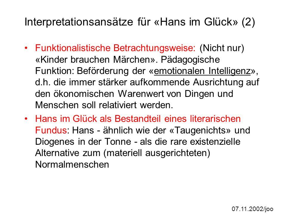 Interpretationsansätze für «Hans im Glück» (2)