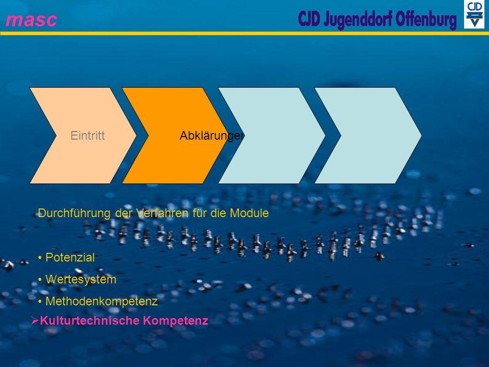Eintritt Abklärungen. Durchführung der Verfahren für die Module. Potenzial. Wertesystem. Methodenkompetenz.