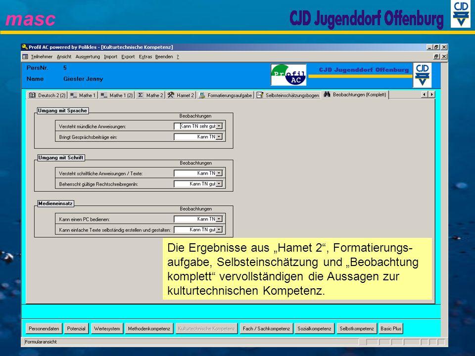 """Die Ergebnisse aus """"Hamet 2 , Formatierungs-aufgabe, Selbsteinschätzung und """"Beobachtung komplett vervollständigen die Aussagen zur kulturtechnischen Kompetenz."""