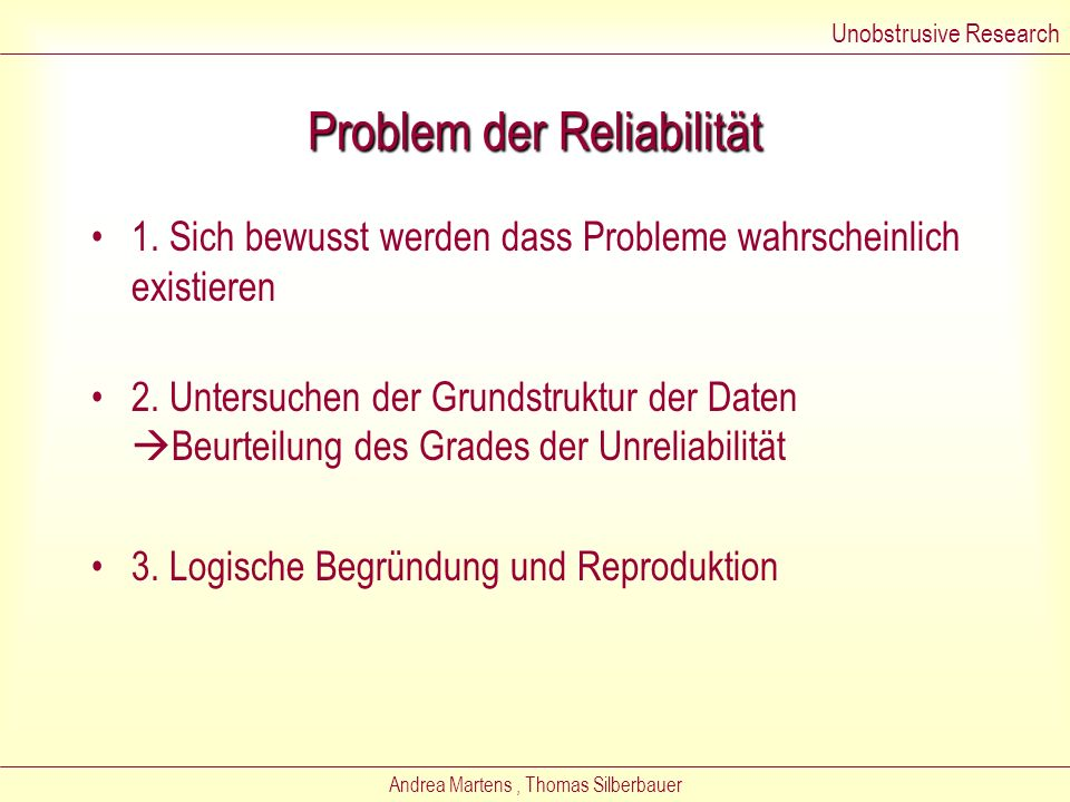 Problem der Reliabilität