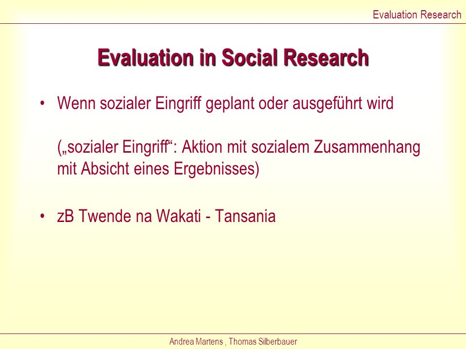 Evaluation in Social Research
