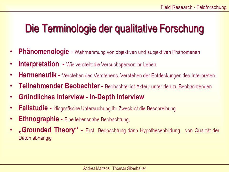 Die Terminologie der qualitative Forschung